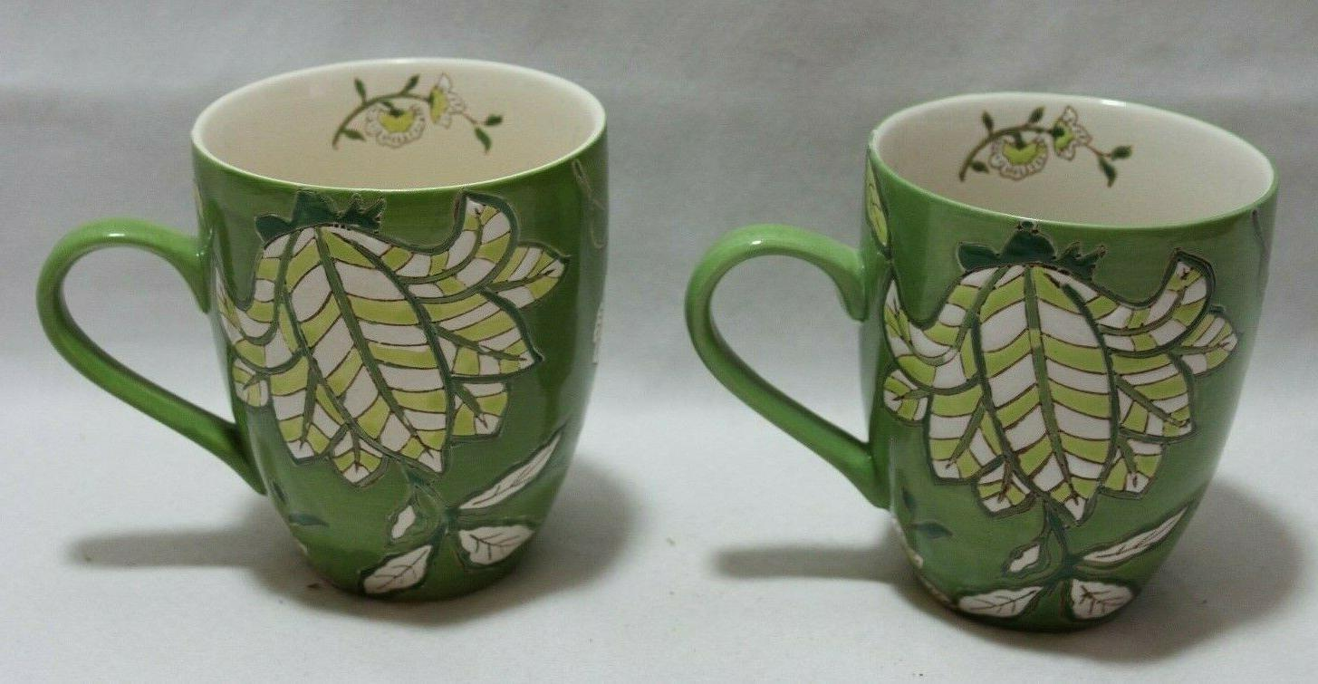 by coastal imports handpainted ceramic green floral