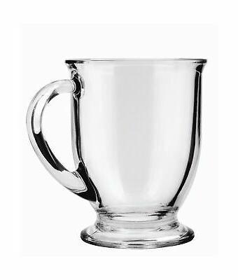 cafe glass coffee mugs clear 16 oz