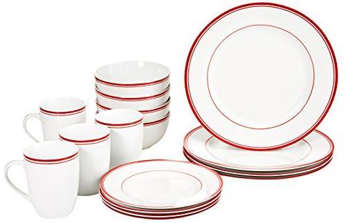 AmazonBasics 16-Piece Cafe Stripe Dinnerware Set Service for