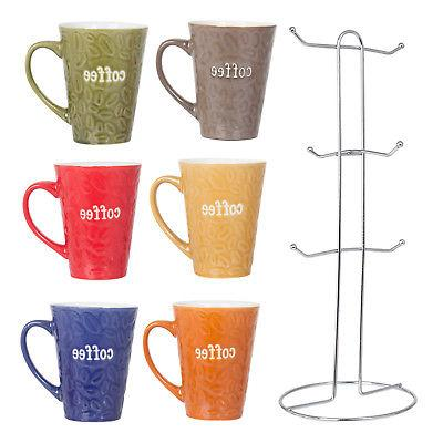 Ceramic Color set With Tree Rack - Bean Design