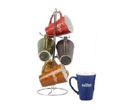 Ceramic Mug With Tree Rack - Embossed Coffee Bean