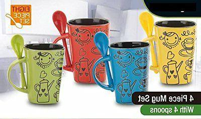 8 Piece Ceramic Deluxe 12oz. Coffee/Tea Mug Set - Cute