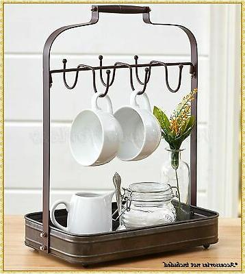 Farmhouse Coffee Mug Rack Holder with Tray Organizer Hooks S