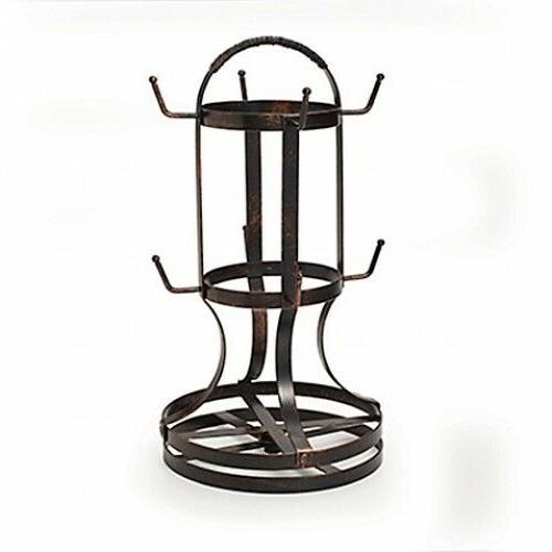Coffee Mug Rack Tree Stand Rotating 8 Cups Wrought Iron Fram