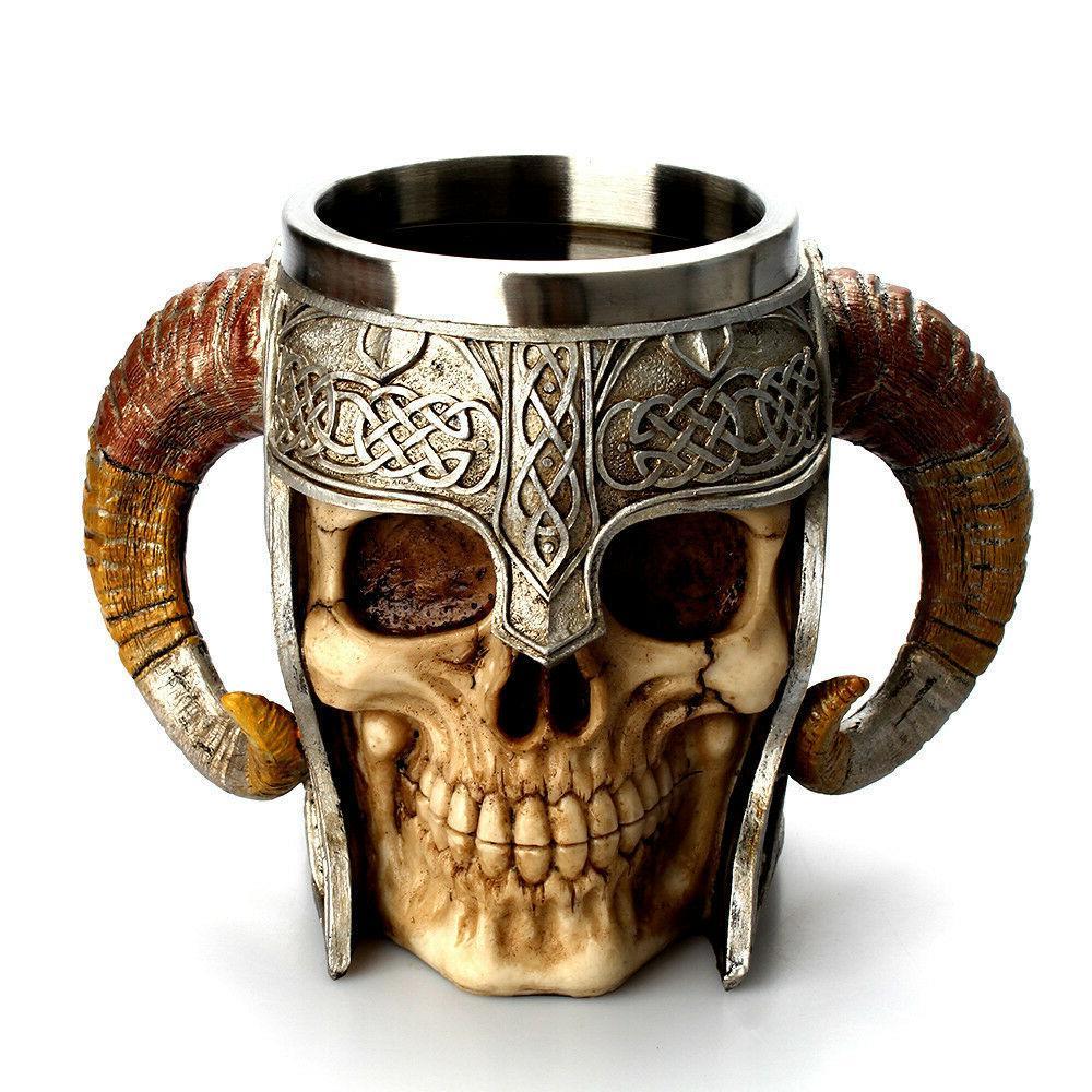 Coffee Warrior Tankard Viking Skull Double 3D