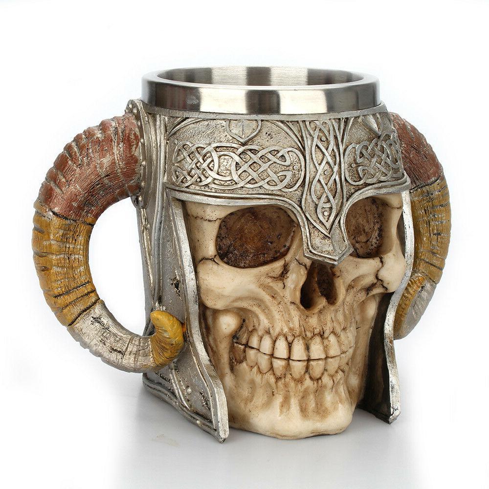 Coffee Mug Warrior Viking Skull Double Wall 3D