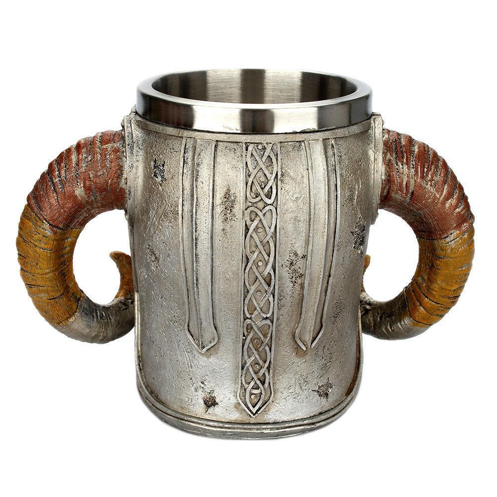 Coffee Mug Resin Striking Warrior Tankard Double