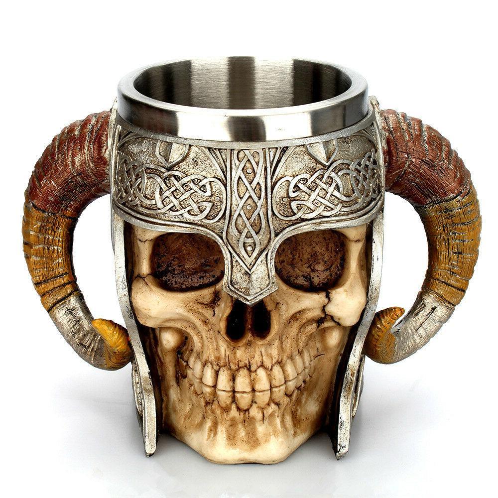 coffee mug resin striking warrior tankard viking
