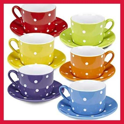 Klikel Tea Cups And Saucers Set | 12 Piece Porcelain Dinnerw