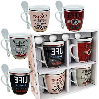coffee mug set 4 mug and spoon