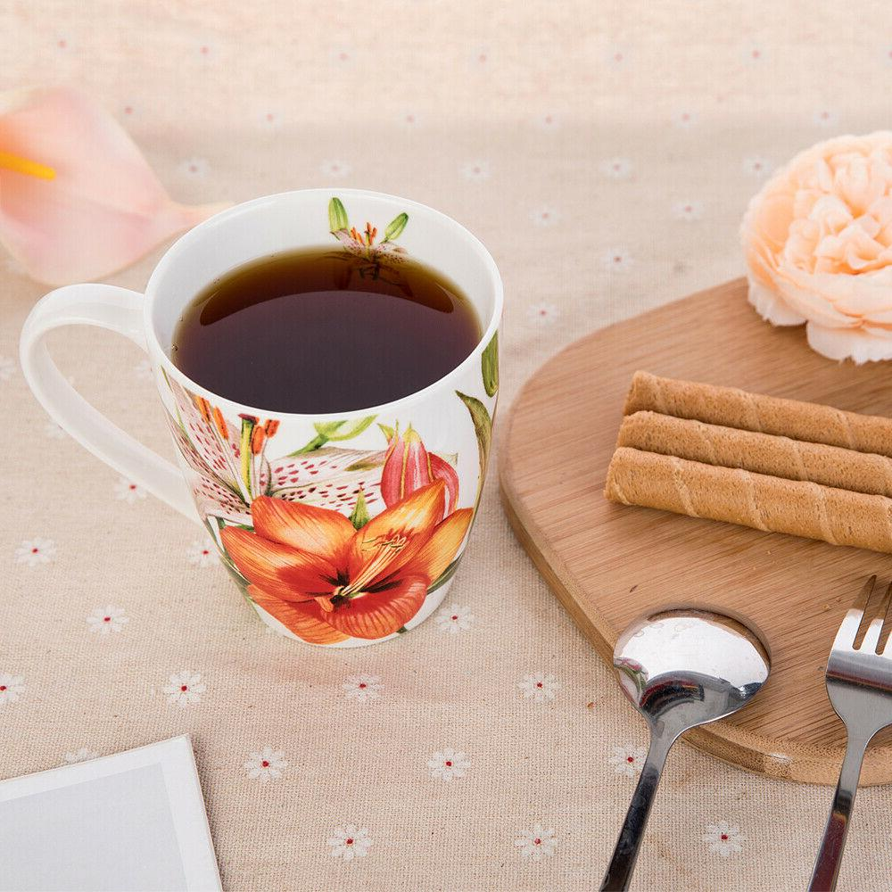 Coffee Mug, Set, New Bone Floral of 4