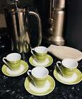 Create By Just Mugs Expresso Set Of 4 Cups/Saucers. R, G, B,