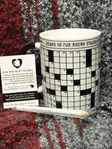 crossword puzzle mug 12 ounce new no