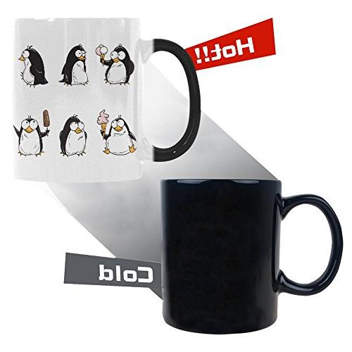cute cartoon penguin morphing mug