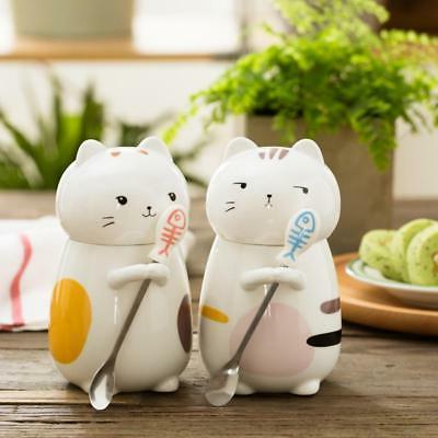 Cute Cat Style Ceramic Mugs with 3D Lid and Spoon Creative M
