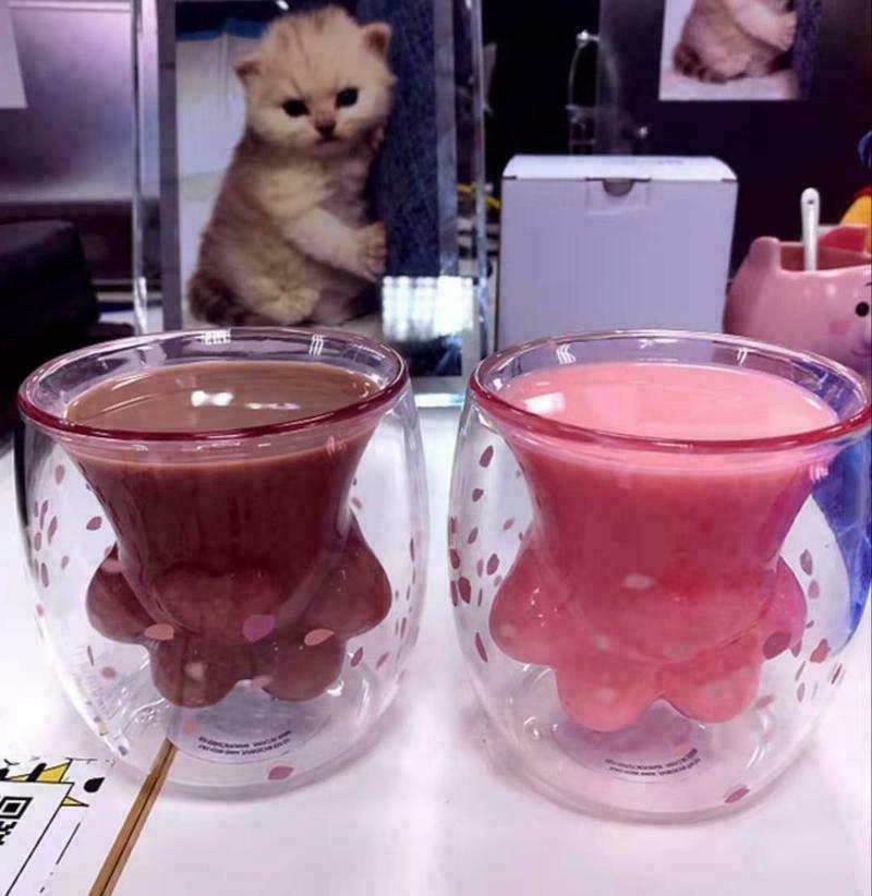Details about Sakura Pink Starbucks Cat Cat's Paw Double Wall Mug Cup
