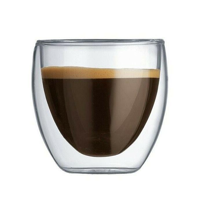 Double Espresso Glass Cups 4 Coffee Tea