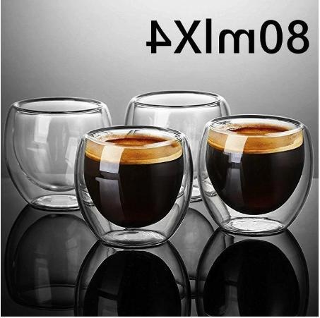 Double Wall Espresso Glass Of 4 80ml Coffee