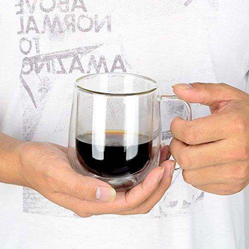 Huada Insulated Borosilicate Mugs Espresso Cups, 10-Ounce, Set of 2