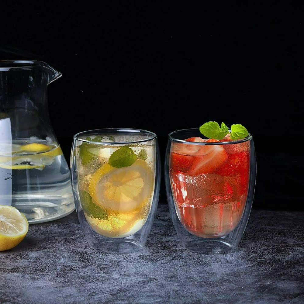 Double Wall Strong Glass 12OZ Cups Set