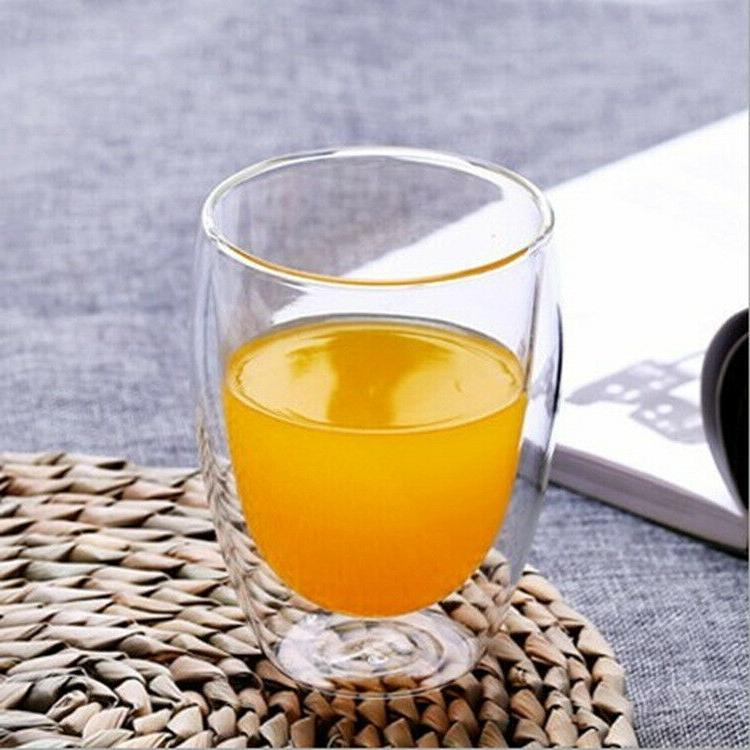 Double Wall Glass Cup 12OZ Mug Set of