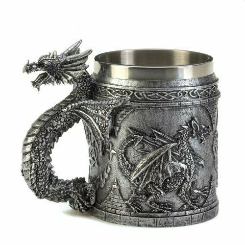 Dragon Coffee Mug 3D Pattern Handle Stainless Steel For Deco