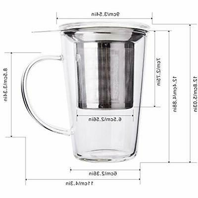 Enindel Simple Tea Mug With And Lid Glass Cup 14 OZ