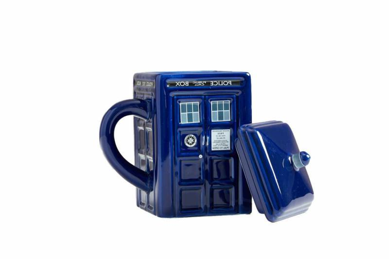 Doctor Who Figural Tardis Mug, 17 Oz W Lid London Police Box
