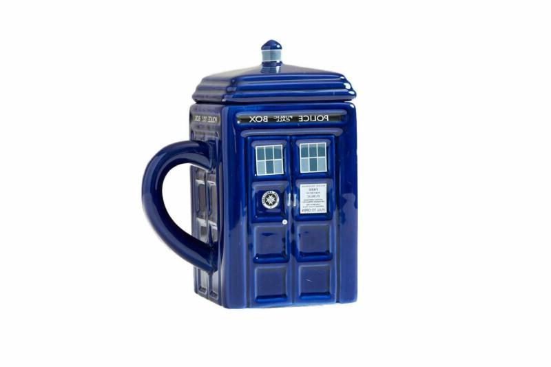 Doctor Who Mug, 17 Lid Police Box Shaped Tea Coffee