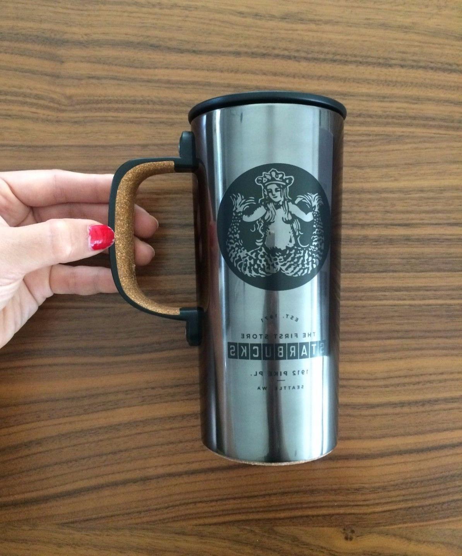 First Starbucks Mermaid logo Travel Mug Cup Tumbler with han