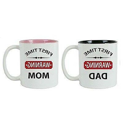 CustomGiftsNow First Time - Warning - Dad/Mom Ceramic Coffee