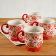 Floral Bursts Footed 19oz Mugs, Set of 4 by: The Pioneer Wom