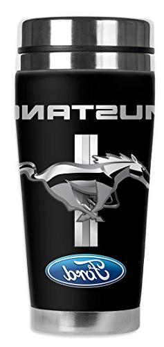 Mugzie Ford Mustang Logo Travel Mug with Insulated Wetsuit C