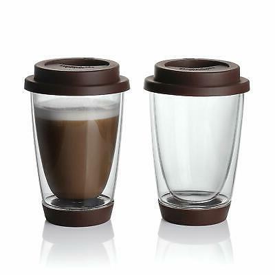glass travel coffee mug 2 set double
