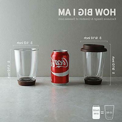 Sweese Glass Travel Mug 2 - Double Wall Insulated Borosilicate
