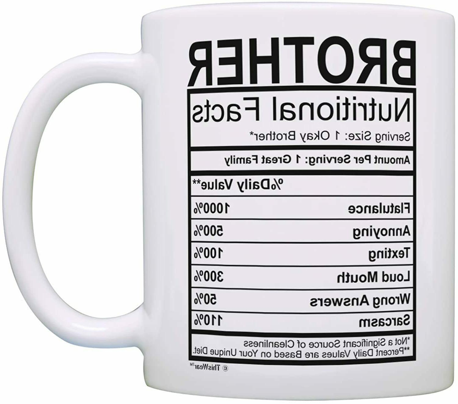 Graduation Gifts for Brother Nutritional Facts Label Mug Fun
