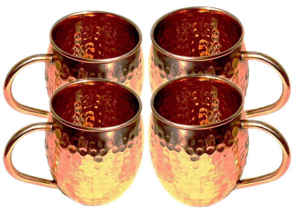Hammered Copper Moscow Mule Mug Capacity 16 Ounce with Coppe
