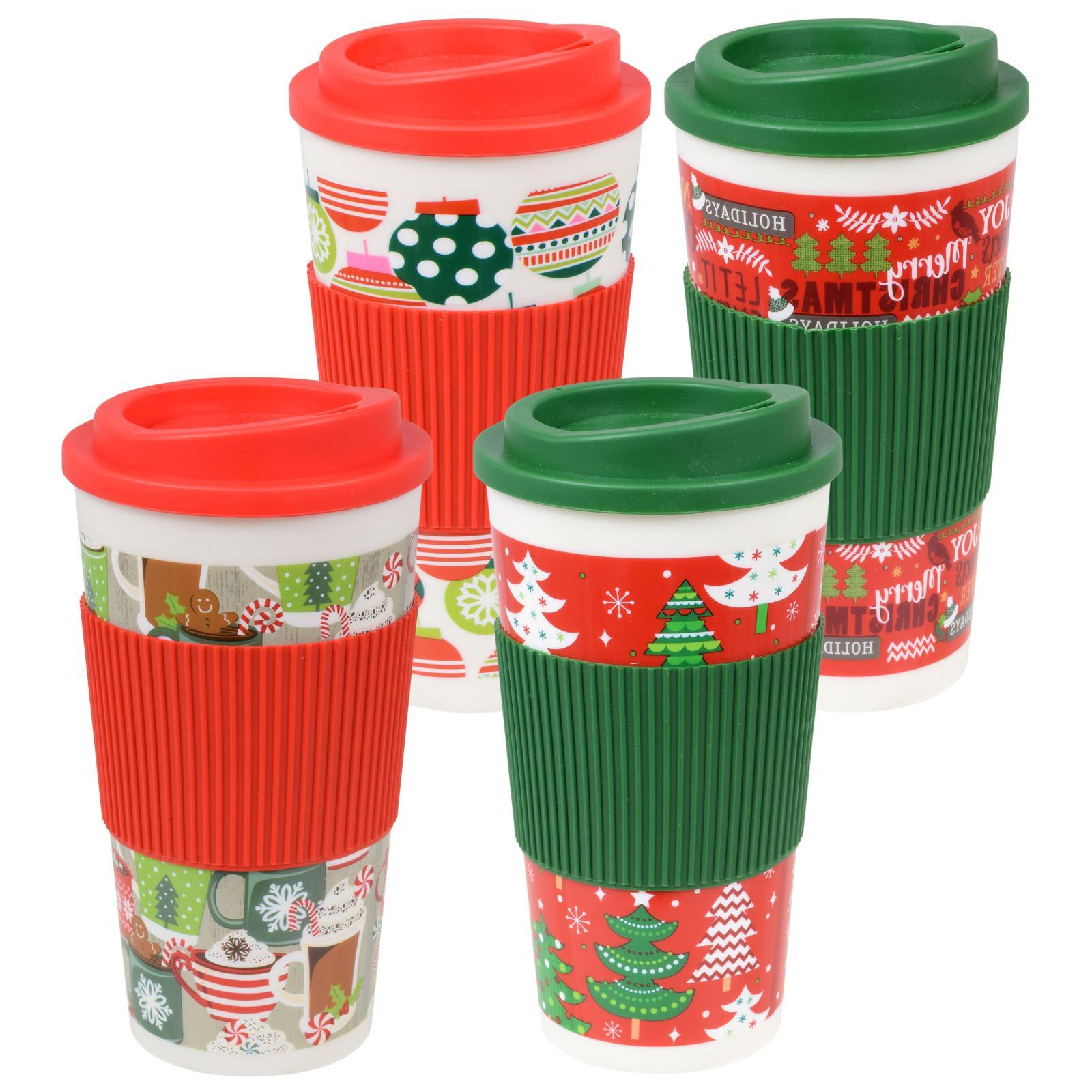 Holiday Travel Mugs, 16 oz. assorted among the 4 Christmas d