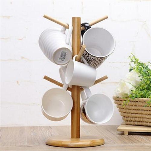 Tree Rack Mug Cup Holder Stand Coffee Tea Storage Wooden Kit
