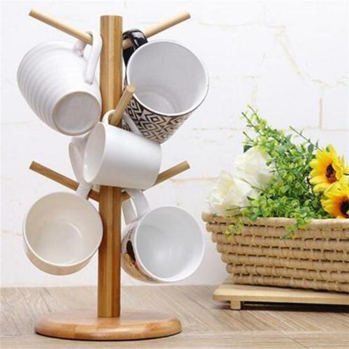 Tree Rack Mug Cup Holder Wood Stand Coffee Tea Storage Woode