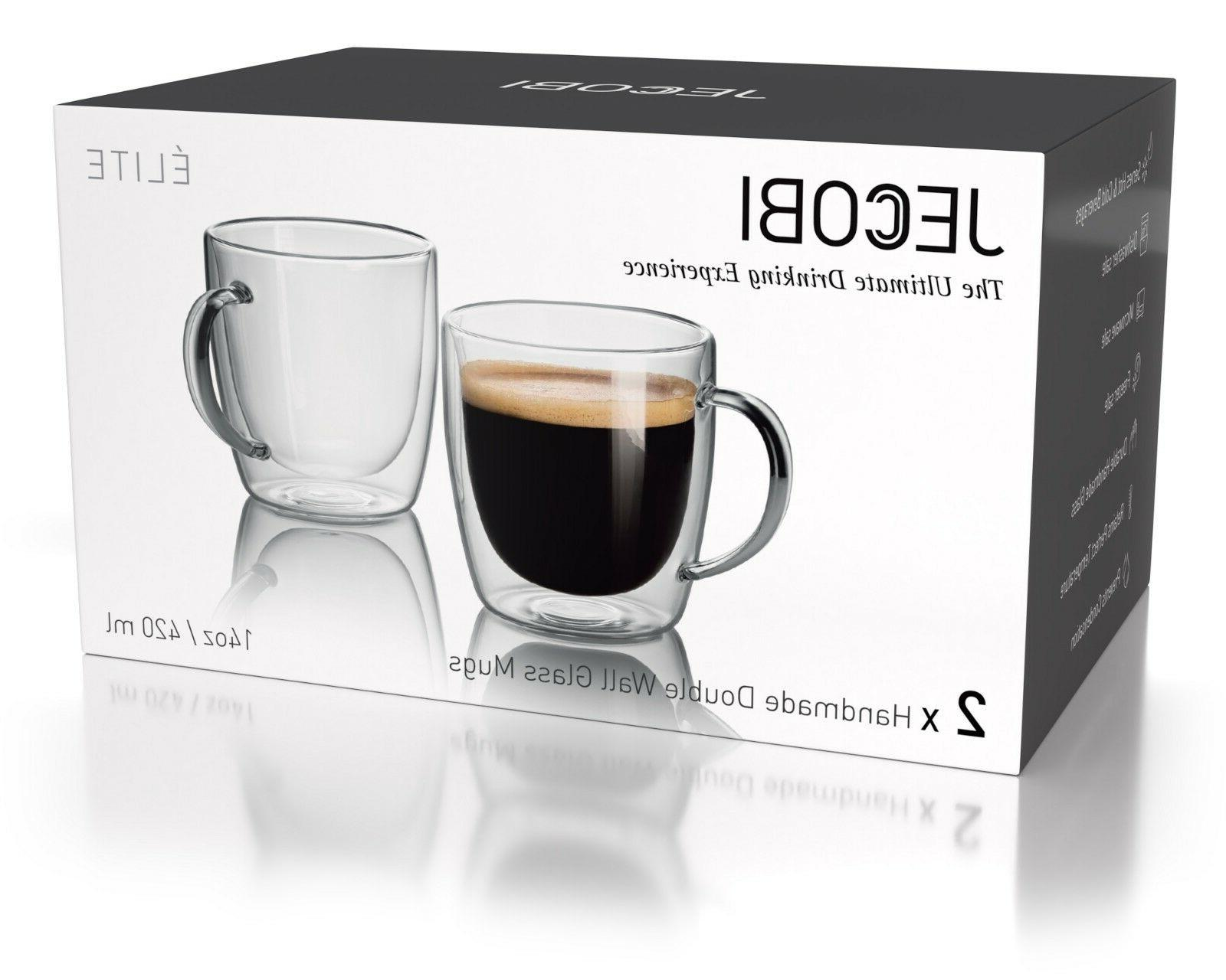 JECOBI Double Wall Mug Tea Mug Espresso 14 oz