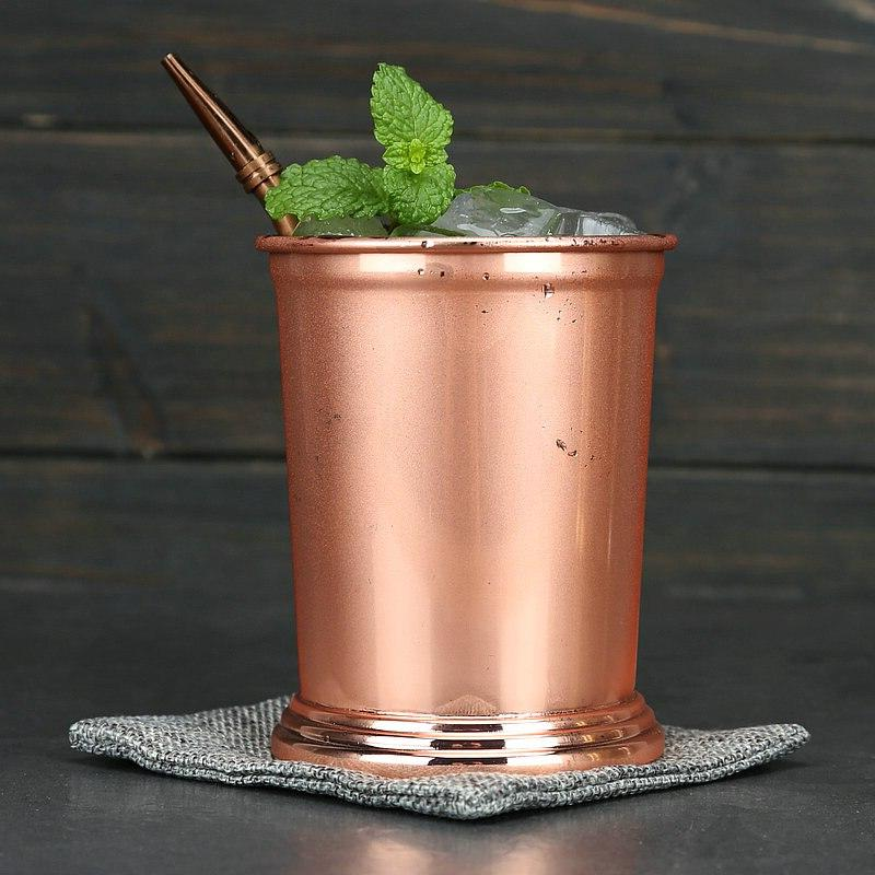 Greenhill Julep Cup Pieces Straw, 12 <font><b>oz</b></font> 350 made 18/8 Steel in Copper