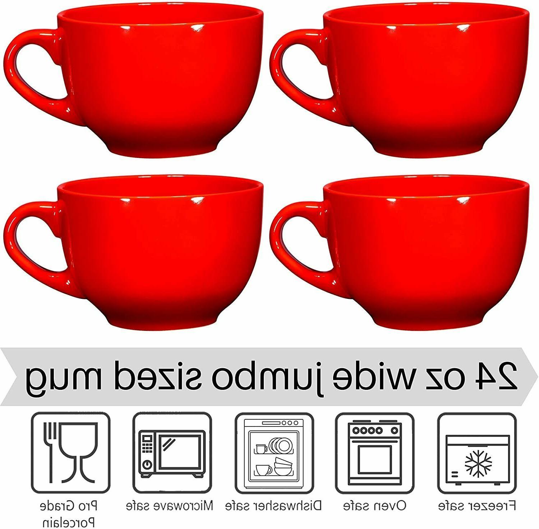Bruntmor Cereal Mugs Set 4 Wide Ceramic Mugs 24