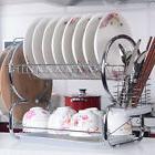 Kitchen Storage 2 Tier Chrome Drying Drainer Dish Mug Rack M