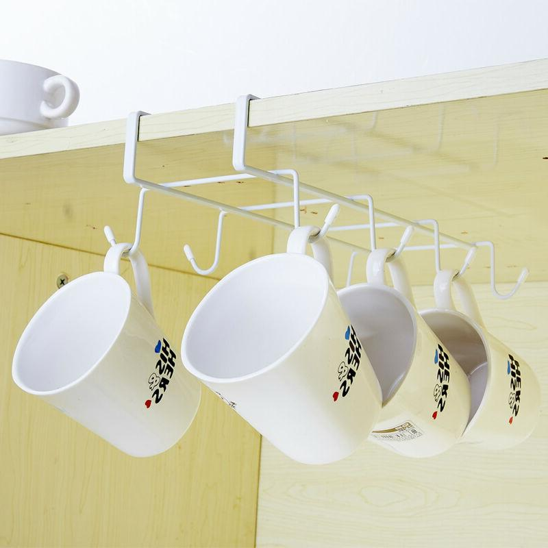 Coffee Mug Cup Holder Under Shelf Cabinet Hanger Organizer R