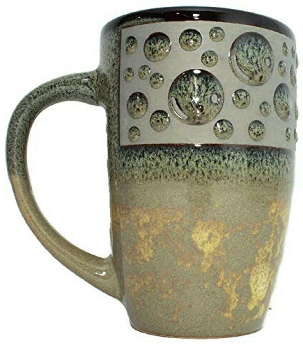 Large Java Ceramic Coffee Mugs with Flare Bubbles Latte Capp