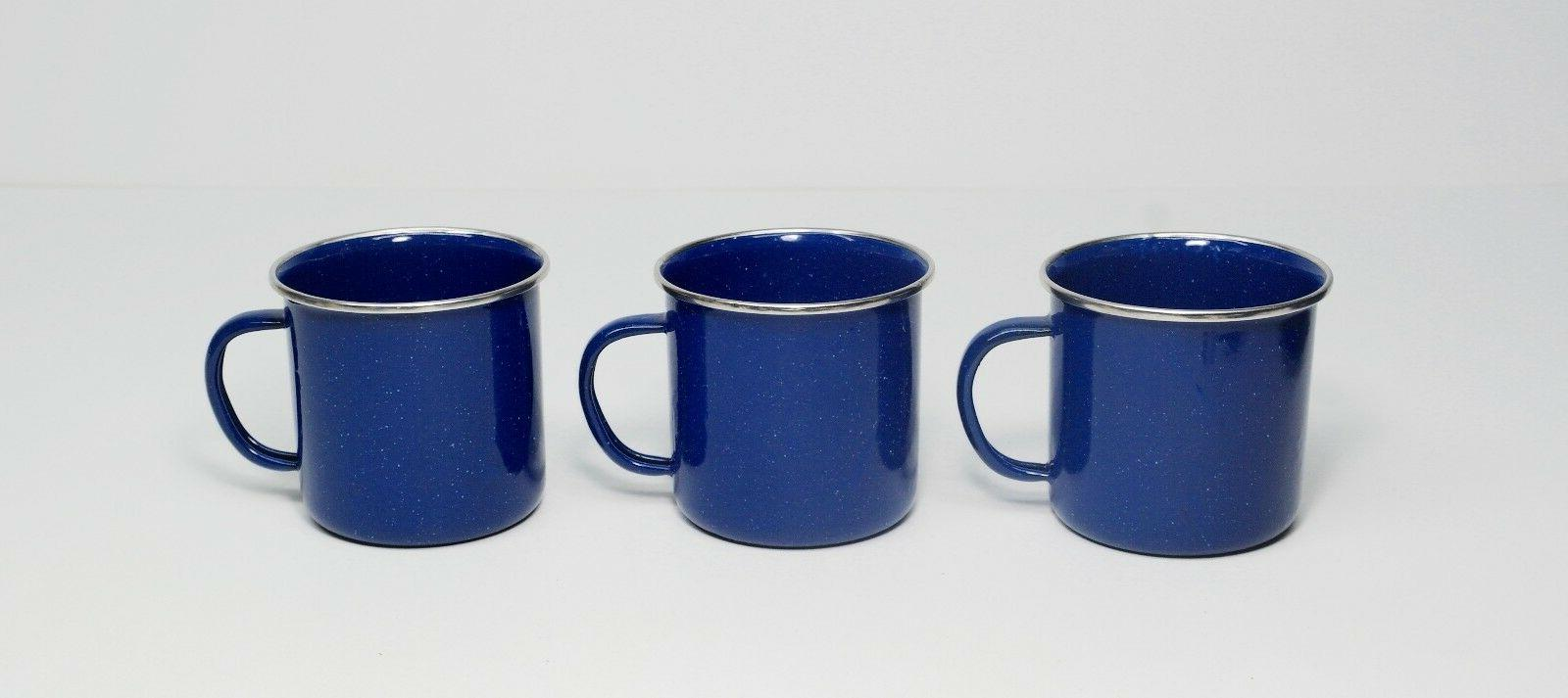 Lot of 3 - Blue Graniteware 12 oz Enamel Tea Coffee Cup Mug