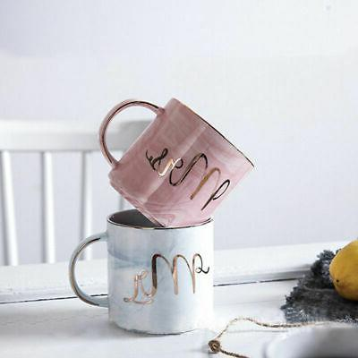 Marble Coffee Set 2 Ceramic Cups Gift for Married