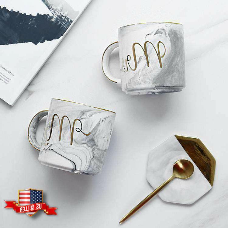 marble mr and mrs coffee mugs set
