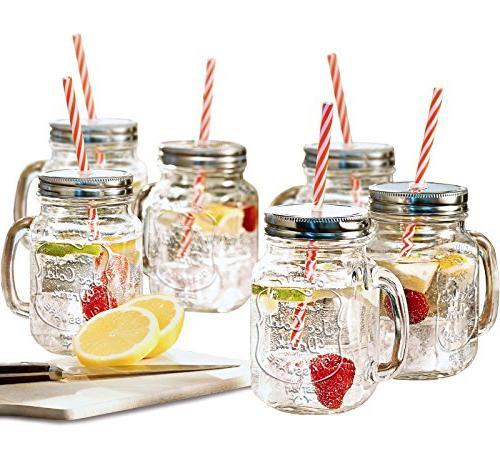 Estilo Jar with Handle and Straws Old Fashioned Set oz Each